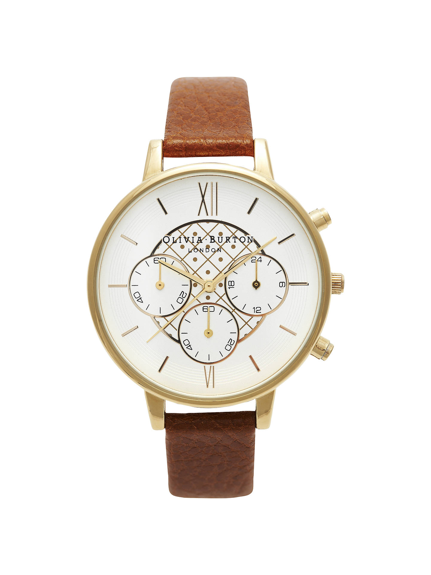 BuyOlivia Burton OB13CG02 Women's Check Dial Leather Strap Chronograph Watch, Tan Online at johnlewis.com
