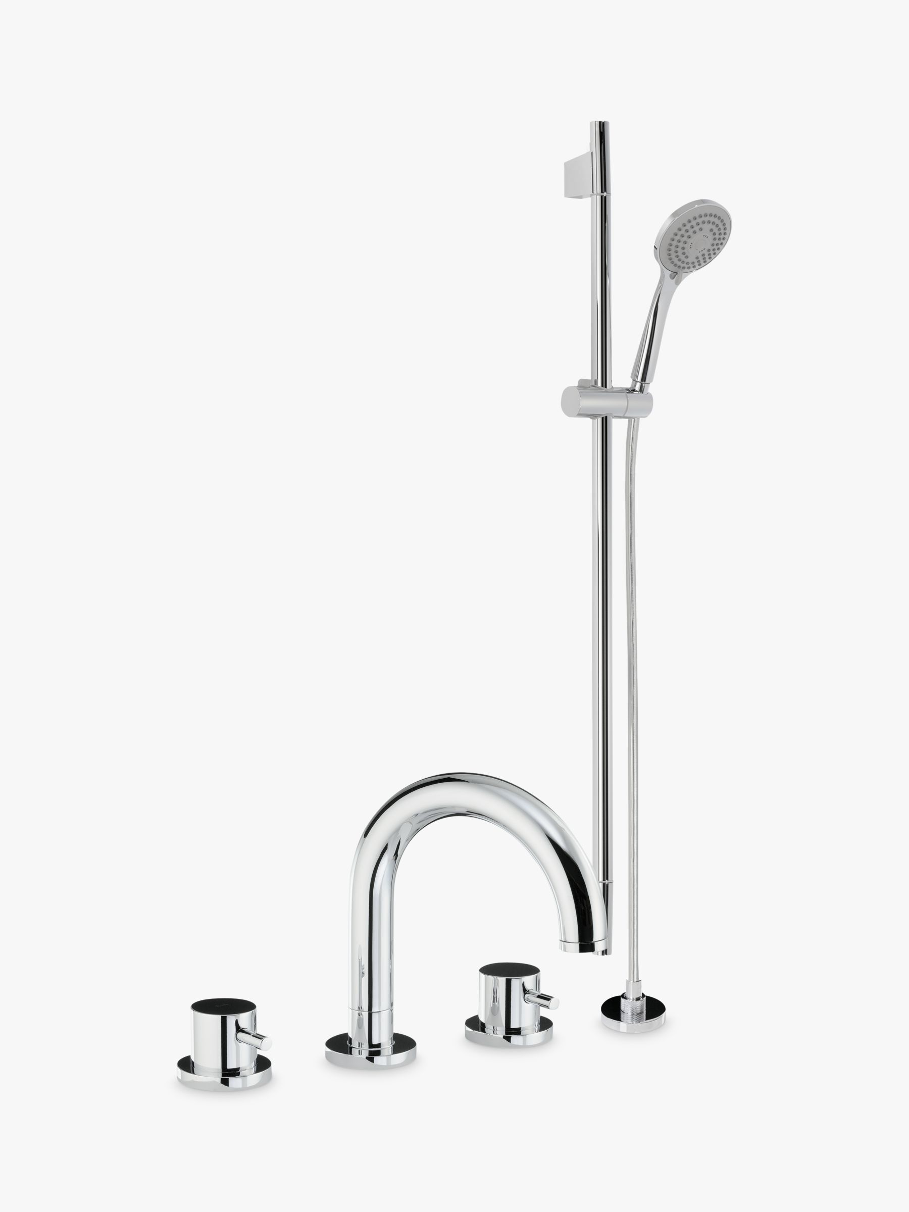 Abode Abode Harmonie Thermostatic Deck Mounted 3 Hole Bathroom Tap and Shower Mixer and Sliding Rail Kit