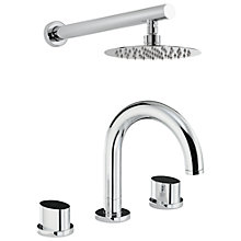 Buy Abode Debut Thermostatic Deck Mounted 3 Hole Bath Mixer Tap and Wall Mounted Shower Online at johnlewis.com