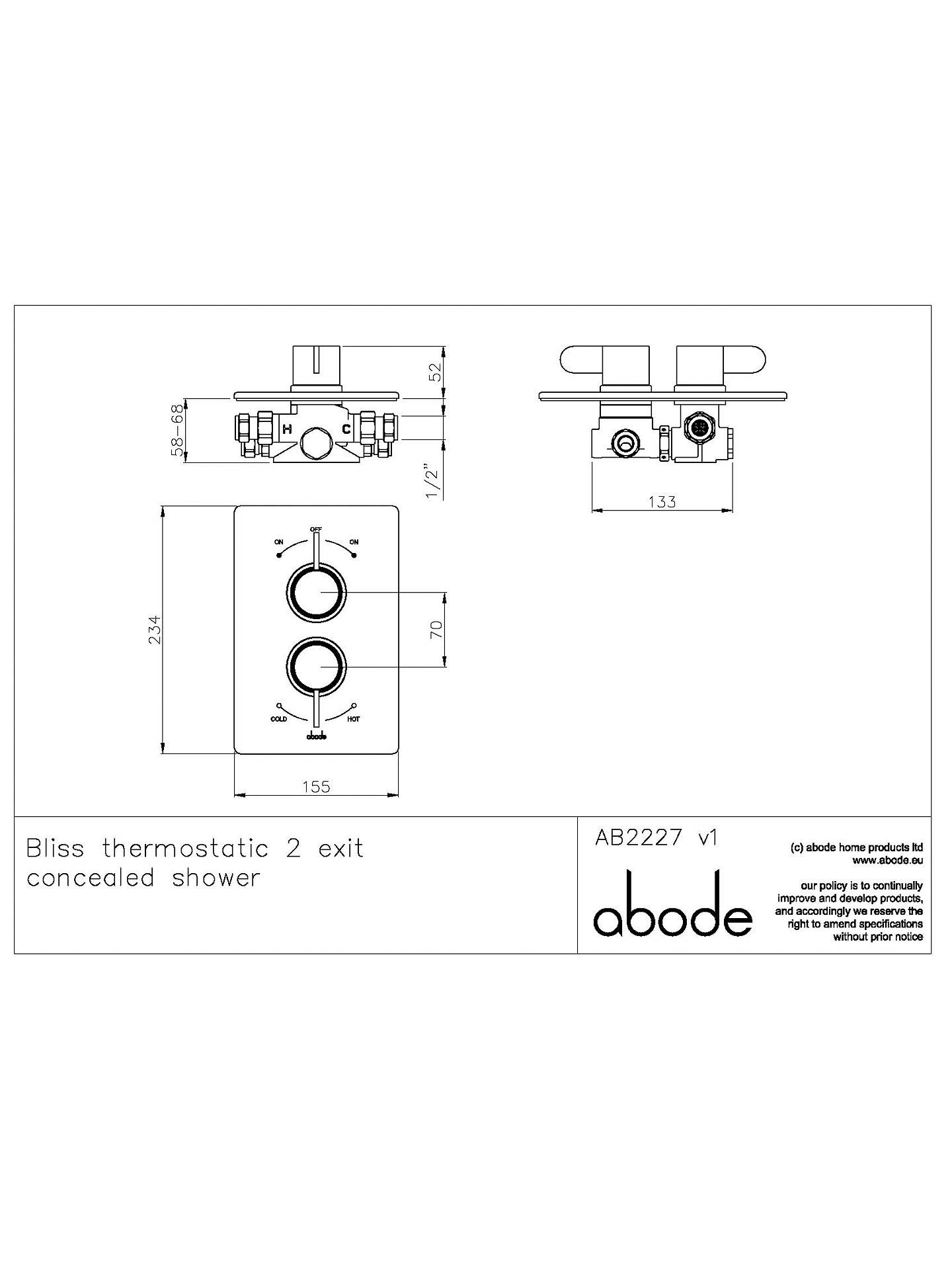 Abode Bliss Concealed Thermostatic Shower Valve 2 Exit At John Diagram Buyabode Online