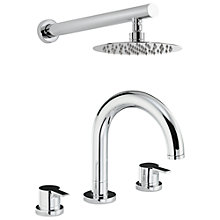 Buy Abode Desire Thermostatic Deck Mounted 3 Hole Bath Mixer Tap with Wall Mounted Shower Online at johnlewis.com