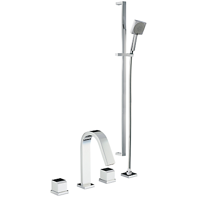 Abode Extase Thermostatic Deck Mounted 3 Hole Bath/Shower Mixer and Sliding Rail Kit