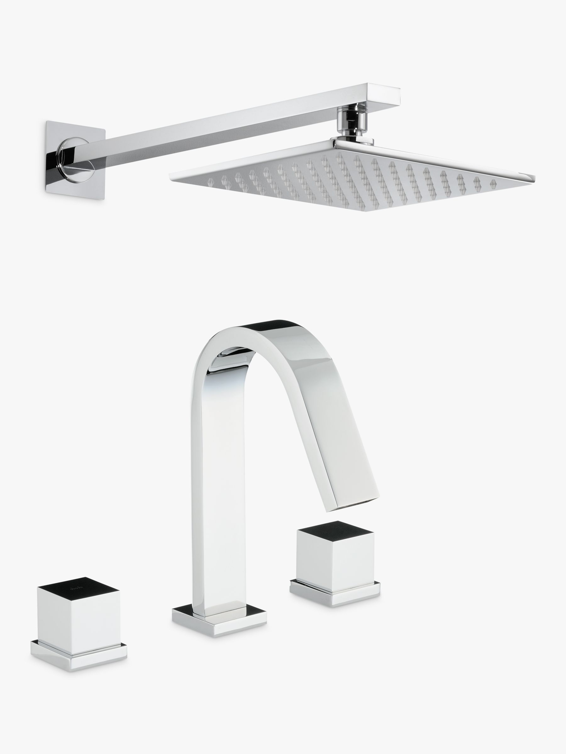 Abode Abode Zeal Thermostatic Deck Mounted 3 Hole Bath Mixer Tap with Wall Mounted Shower