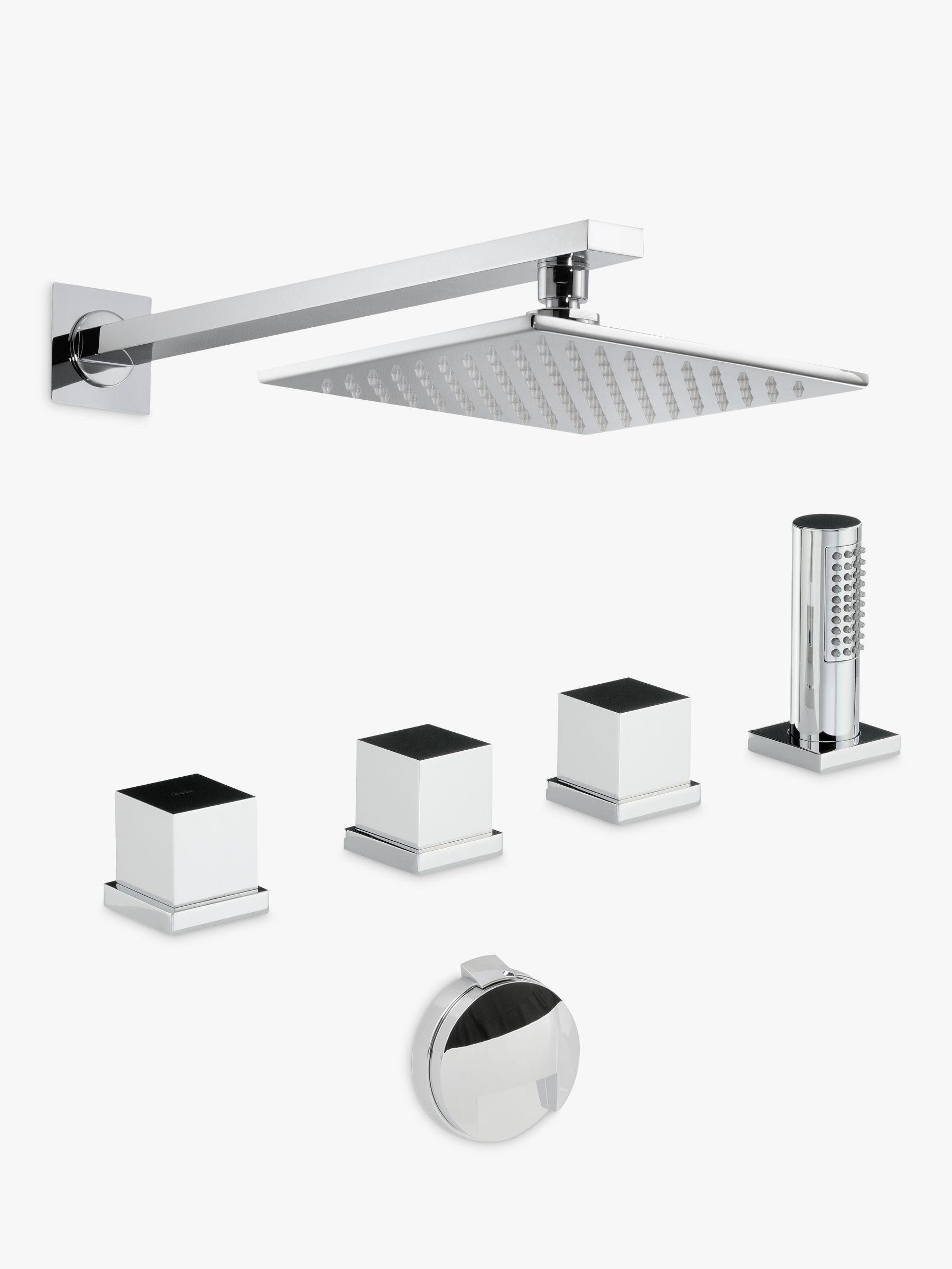 Abode Abode Zeal Thermostatic Deck Mounted 4 Hole Bath Overflow Filler Kit with Wall Mounted Shower