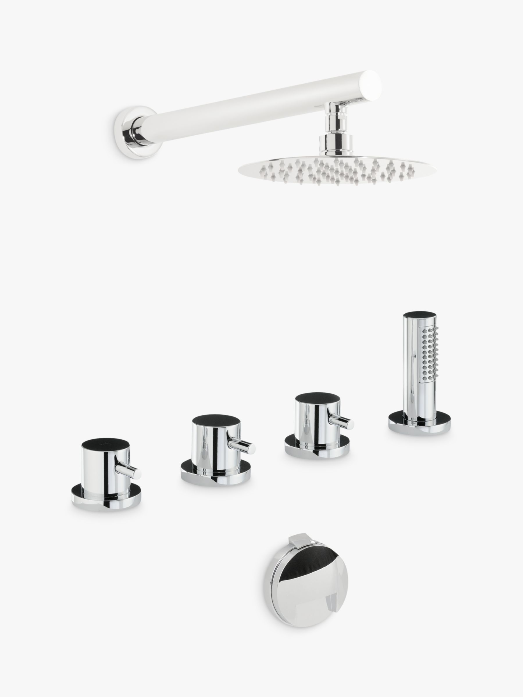 Abode Abode Harmonie Thermostatic Deck Mounted 4 Hole Bath Overflow Filler Kit with Wall Mounted Shower