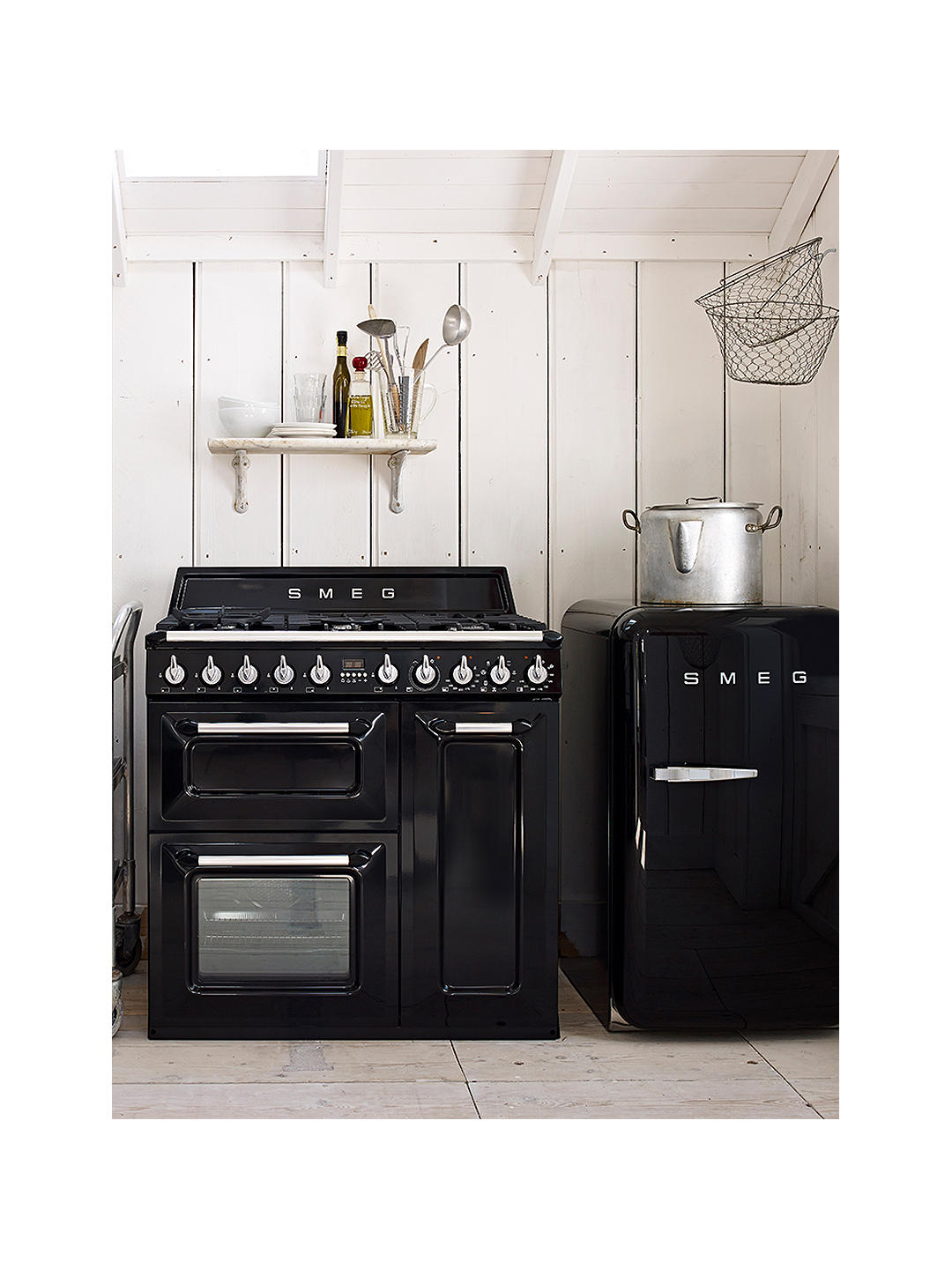 Buy Smeg Victoria TR93BL Dual Fuel Range Cooker, 90cm Wide, Gloss Black Online at johnlewis.com