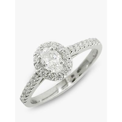 E.W Adams Platinum Oval Cut Diamond Cluster Engagement Ring, Platinum