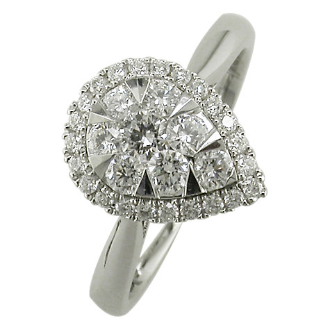 Buy EWA 18ct White Gold Pear Shaped Diamond Cluster Engagement Ring, White Gold Online at johnlewis.com