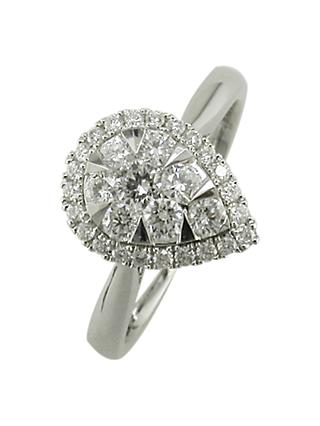 E.W Adams 18ct White Gold Pear Shaped Diamond Cluster Engagement Ring, White Gold