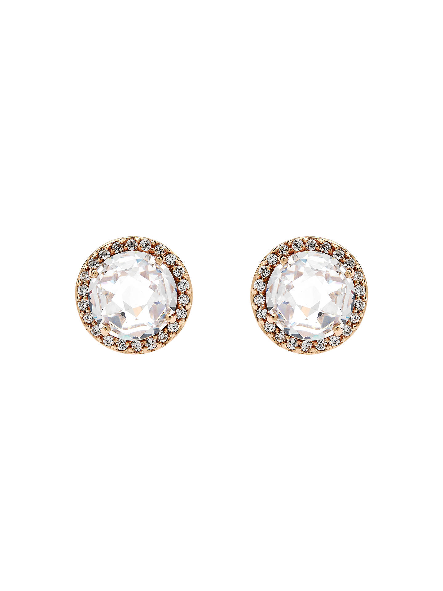 08f41fd2b Buy Jou Jou Sterling Silver Round Cubic Zirconia Stud Earrings, Rose Gold  Online at johnlewis ...