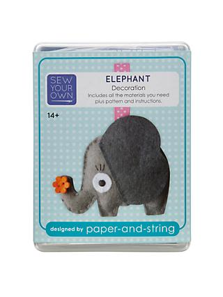 Paper And String Sew Your Own Decoration Kit, Elephant