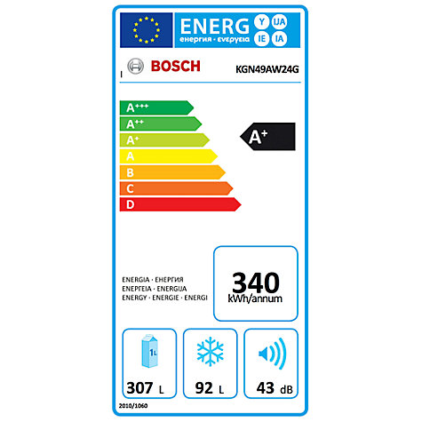 Buy Bosch KGN49AW24G Fridge Freezer, A+ Energy Rating, 70cm Wide, White Online at johnlewis.com