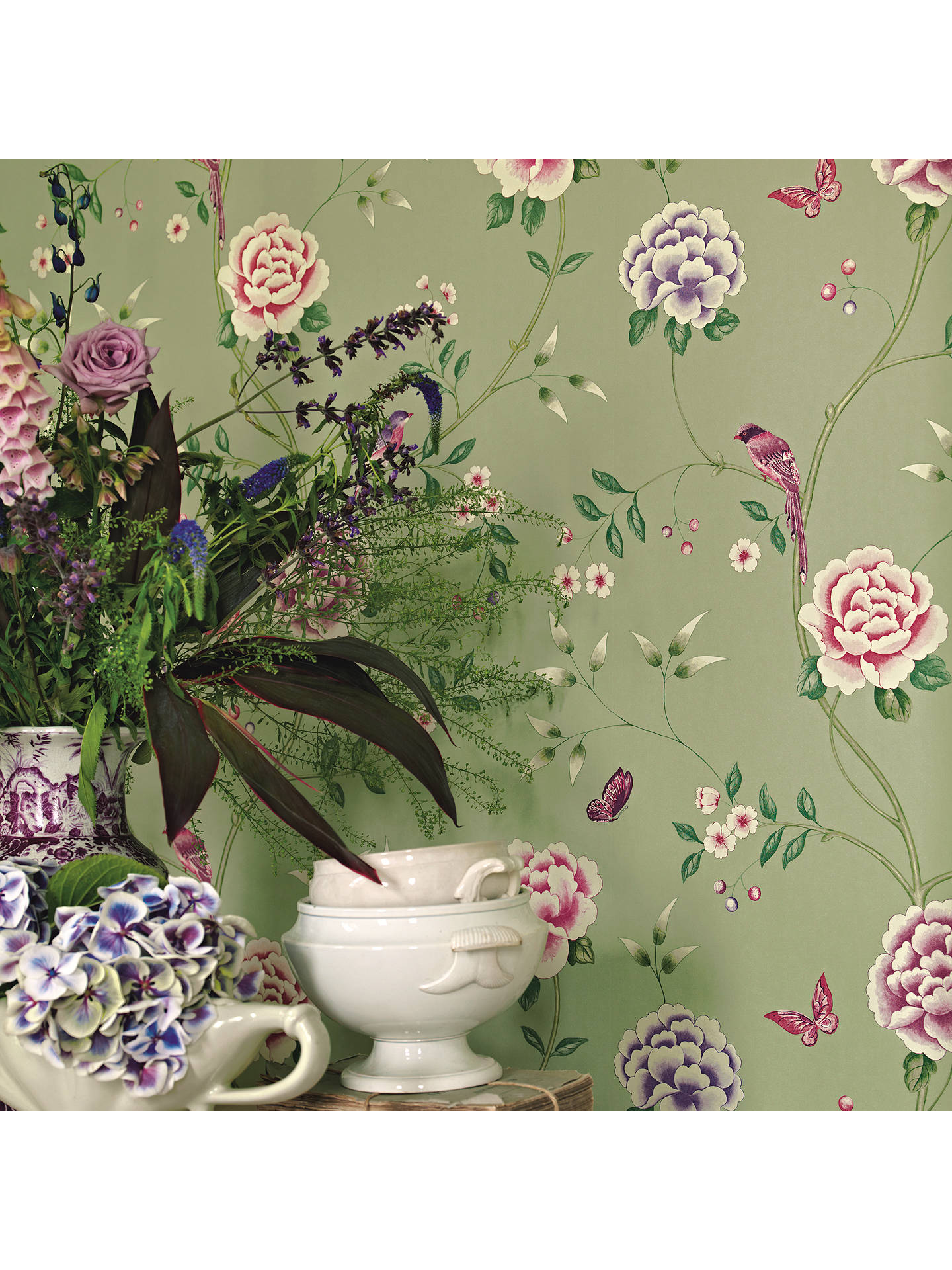 Buy Sanderson Pavilion Wallpaper, Georgian Green, 212158 Online at johnlewis.com
