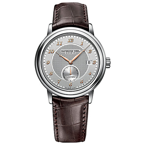 Buy Raymond Weil 2838-SL505658 Men's Maestro Automatic Leather Strap Watch, Brown/Silver Online at johnlewis.com