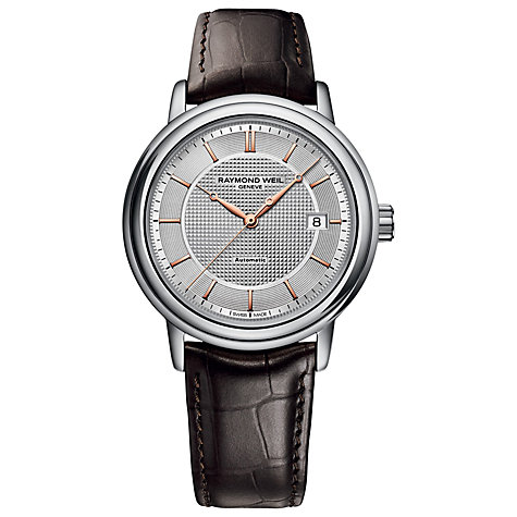 Buy Raymond Weil 2837-SL565001 Men's Maestro Automatic Leather Strap Watch, Dark Brown/Silver Online at johnlewis.com