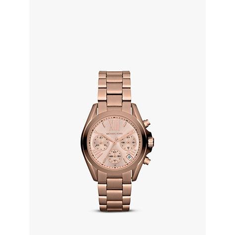 Buy Michael Kors MK5799 Women's Mini Bradshaw Stainless Steel Bracelet Strap Watch, Rose Gold Online