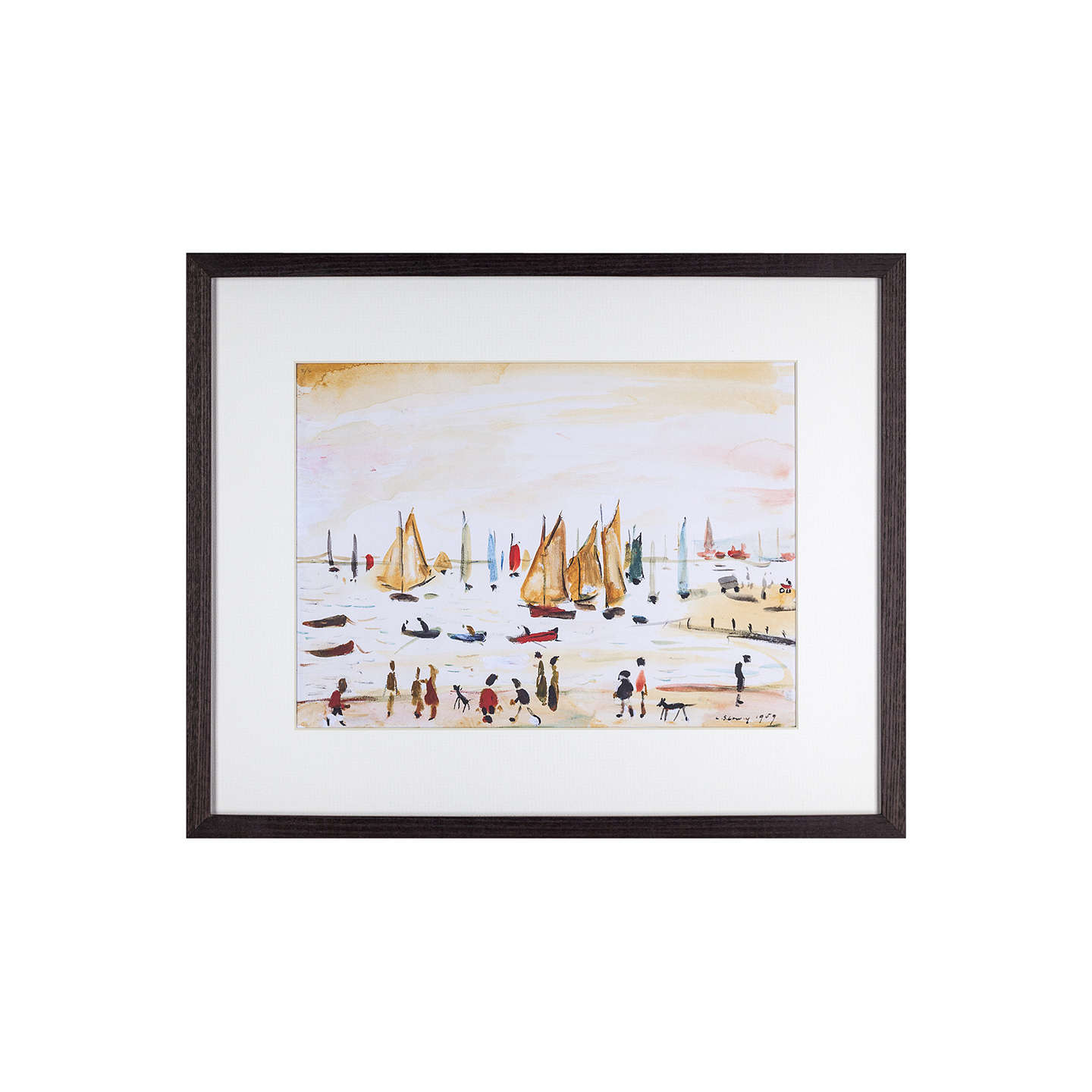 BuyL. S. Lowry - Yachts 1959 Framed Print, 42 x 34cm Online at johnlewis.com