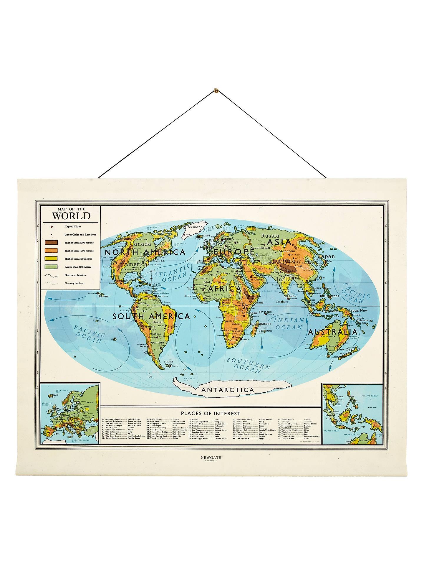 Newgate World Map Canvas Banner 76 X 98cm At John Lewis