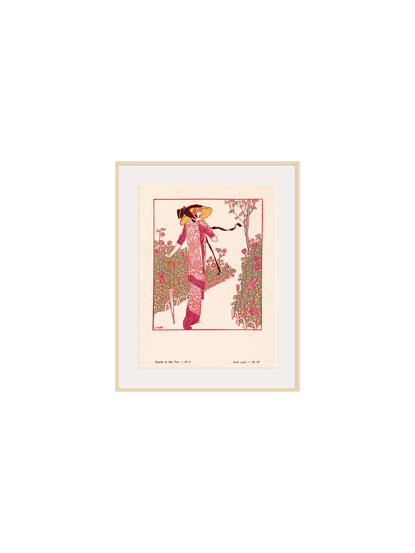 BuyThe Courtauld Gallery, Gazette Du Bon Ton - No 6 1913 Une Rose Parmi Les Roses Print, 50 x 40cm, Natural Ash Framed Print Online at johnlewis.com