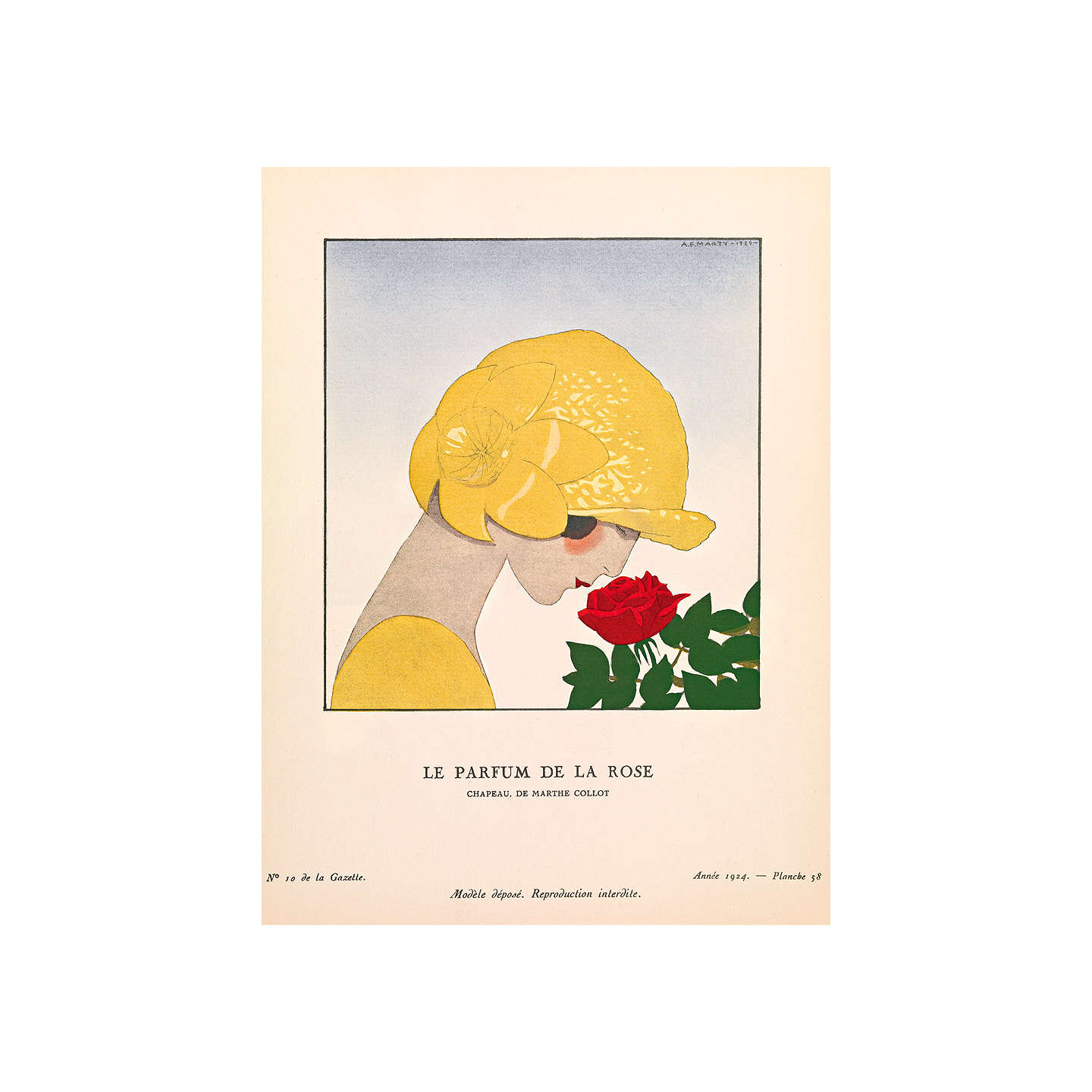 BuyThe Courtauld Gallery, Gazette Du Bon Ton - No10 1924 Le Parfum De La Rose Print, 50 x 40cm, Stretched Canvas Online at johnlewis.com