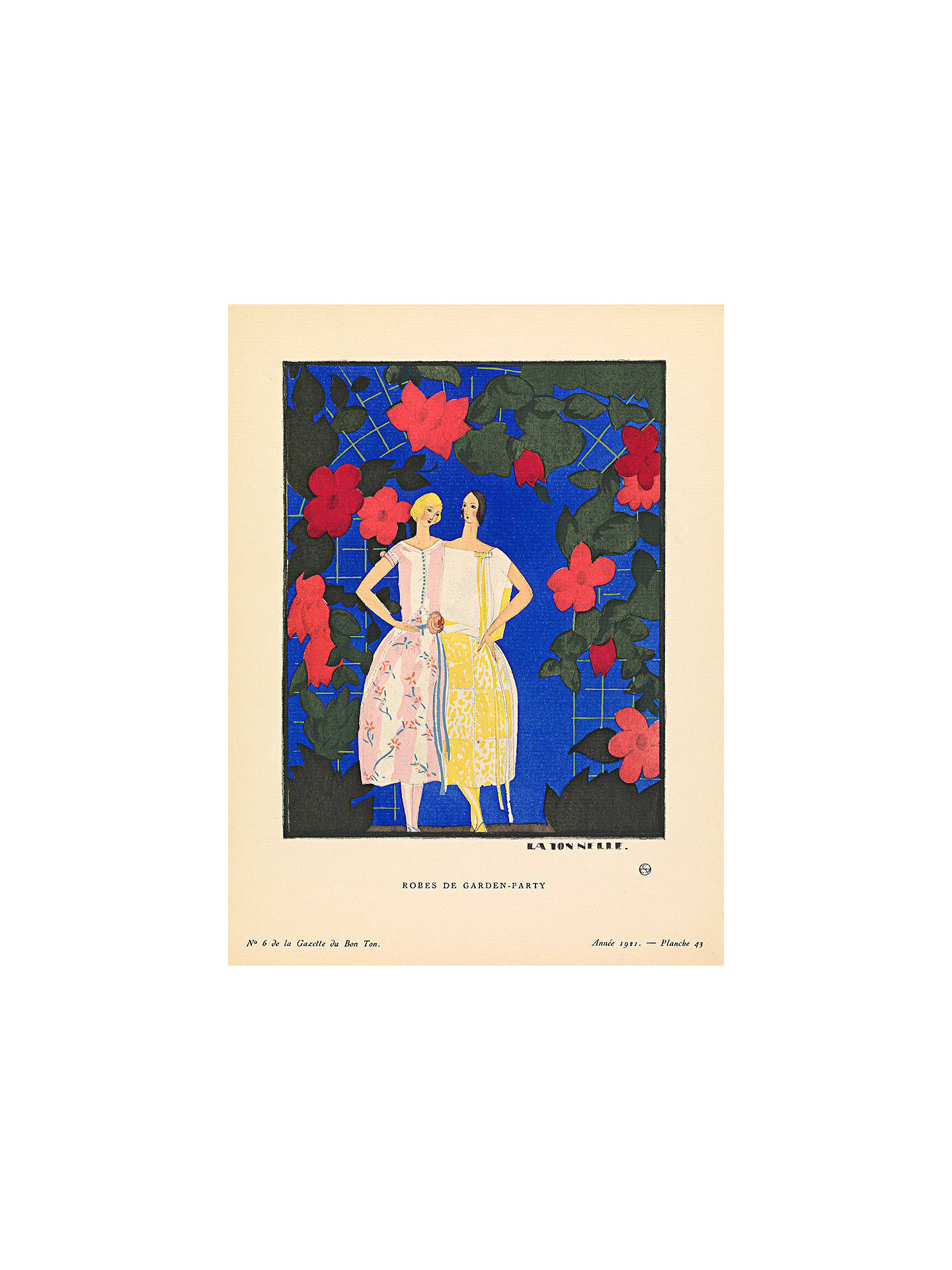 The Courtauld Gallery Gazette Du Bon Ton No6 1921 Robes De Garden Party Print 50 X 40cm Stretched Canvas