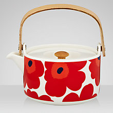 Buy Marimekko Unikko Ceramic Teapot, Red Online at johnlewis.com