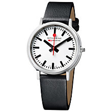 Buy Mondaine Unisex Stop 2 Go Leather Strap Watch, Black/White Online at johnlewis.com