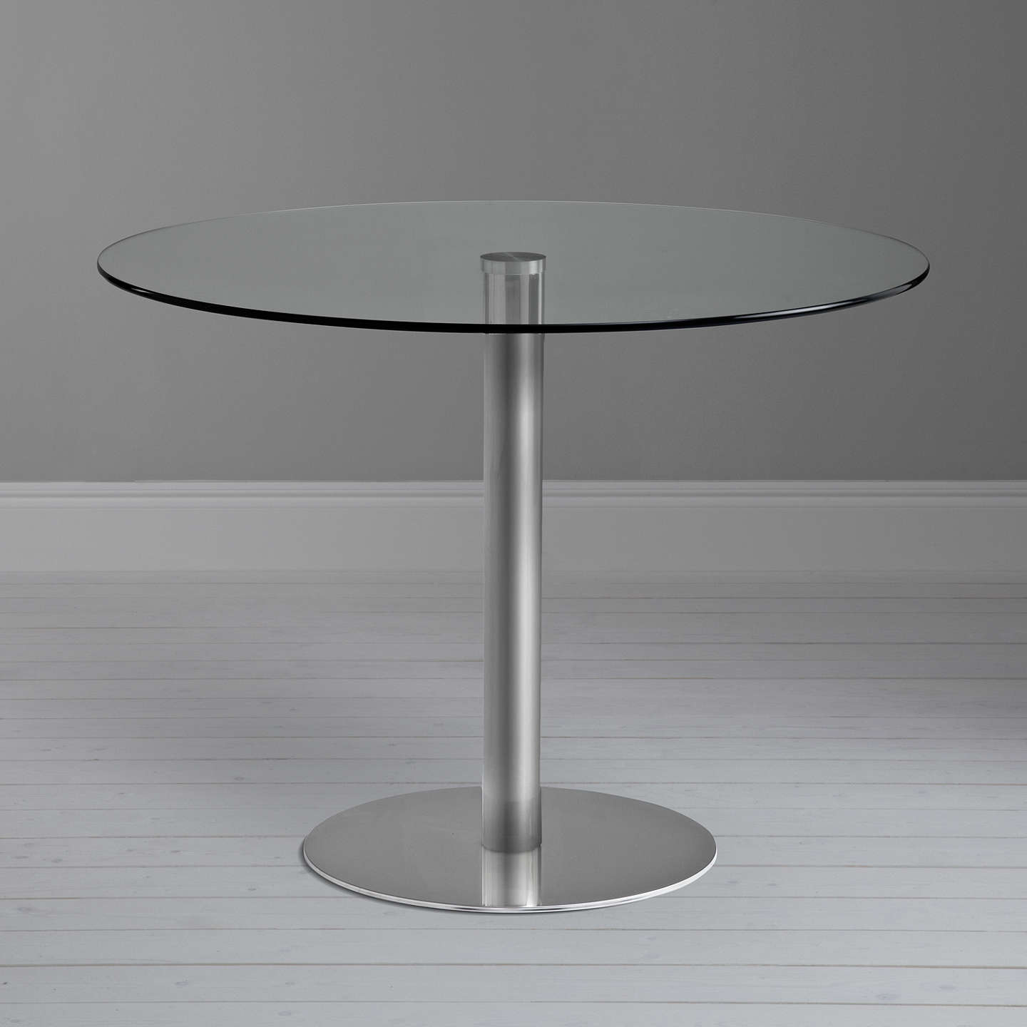 John Lewis Enzo 4 Seater Round Glass Top Dining Table At
