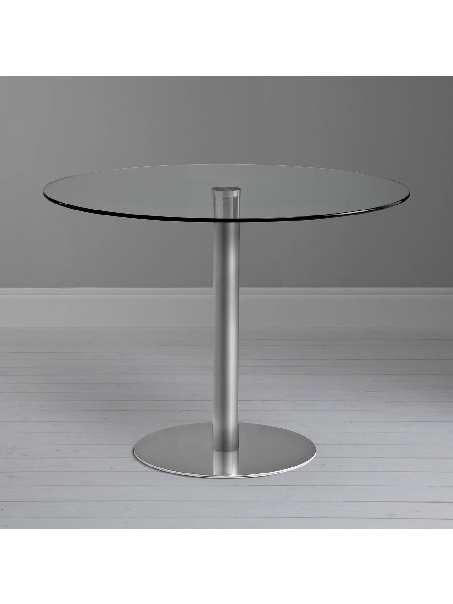 BuyJohn Lewis & Partners Enzo 4-Seater Round Glass Top Dining Table Online at johnlewis.com