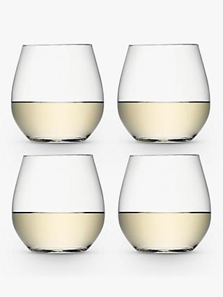 LSA International Wine Collection Stemless White Wine Glasses, 370ml, Set of 4