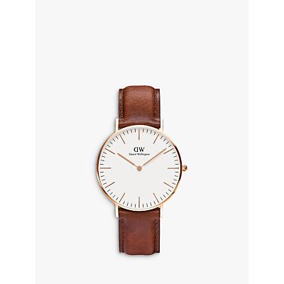 Daniel Wellington 0510DW Women's Sheffield Leather Strap Watch, Brown/White