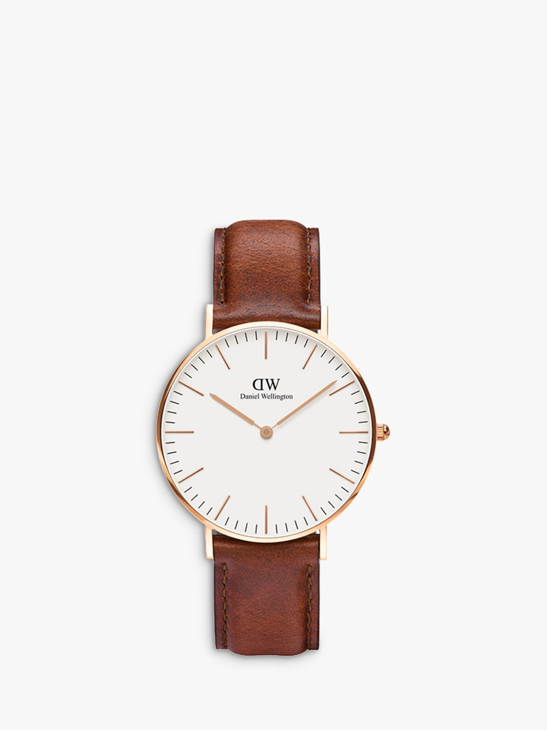 Daniel Wellington Daniel Wellington 0510DW Women's 36mm Sheffield Leather Strap Watch, Brown/White