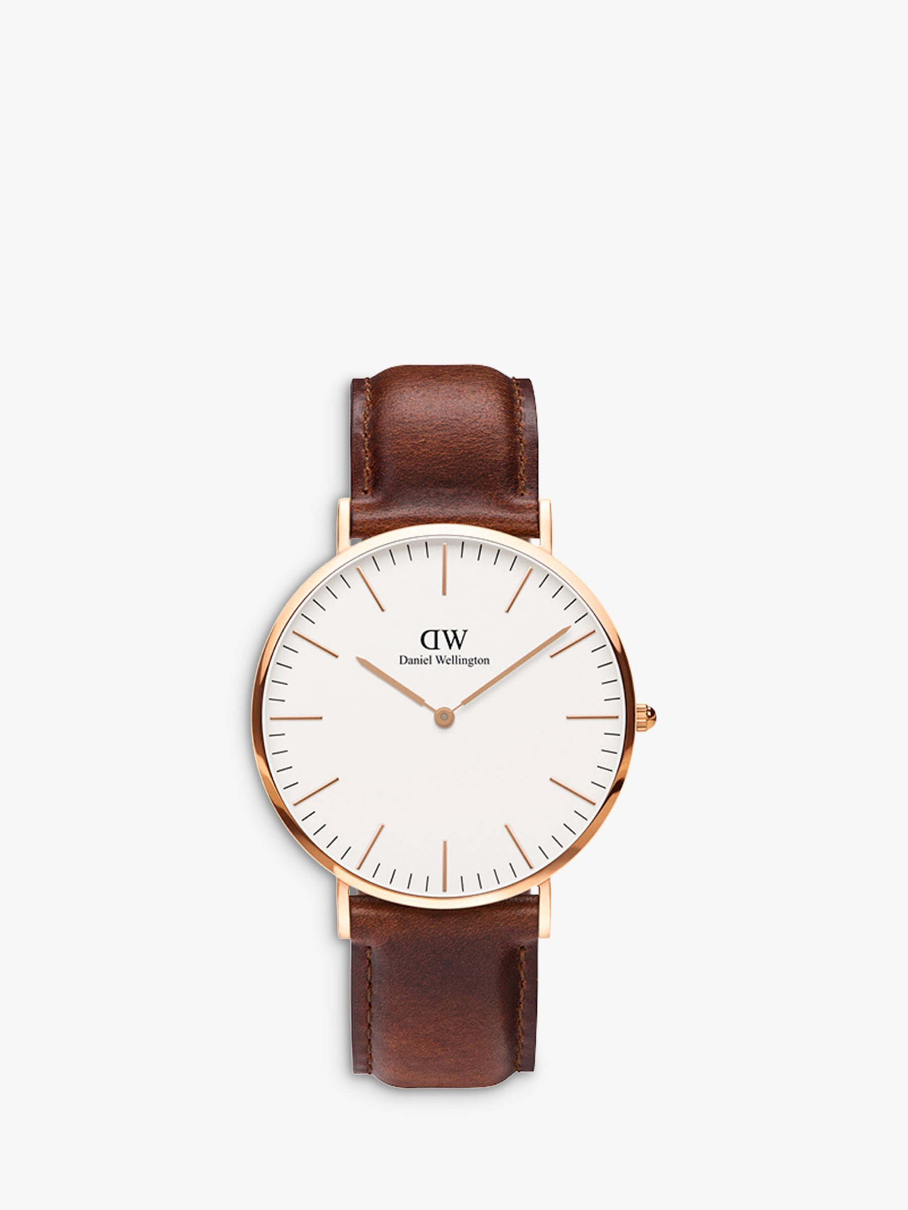 Daniel Wellington Daniel Wellington DW00100006 Men's 40mm St Mawes Rose Gold Plated Leather Strap Watch, Tan/White