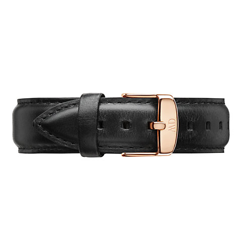 Buy Daniel Wellington 0107DW Men's Sheffield Rose Gold Plated Leather Strap Watch, Black/White Online at johnlewis.com