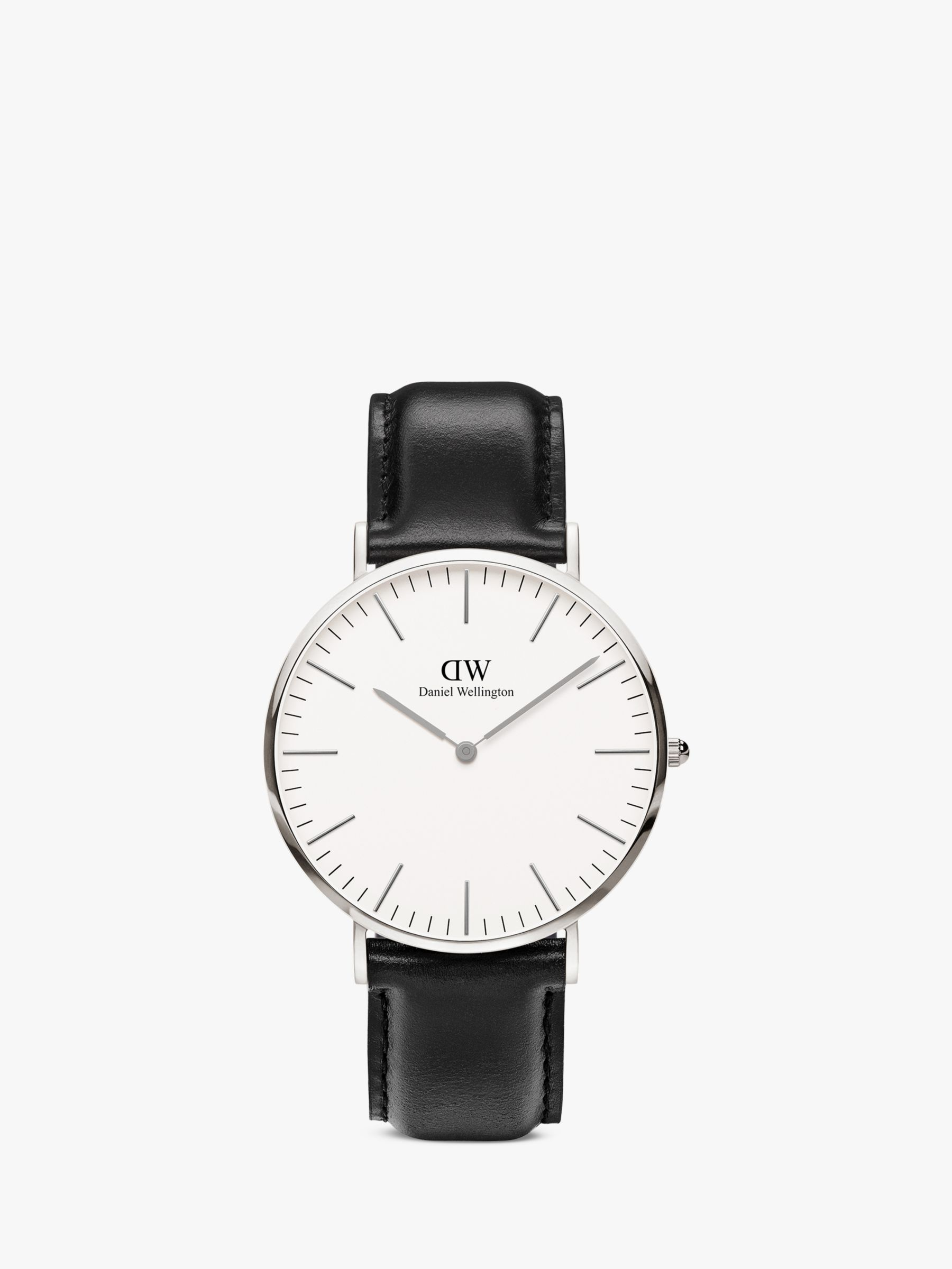 Daniel Wellington Daniel Wellington DW00100020 Men's 40mm Classic Sheffield Leather Strap Watch, Black/White