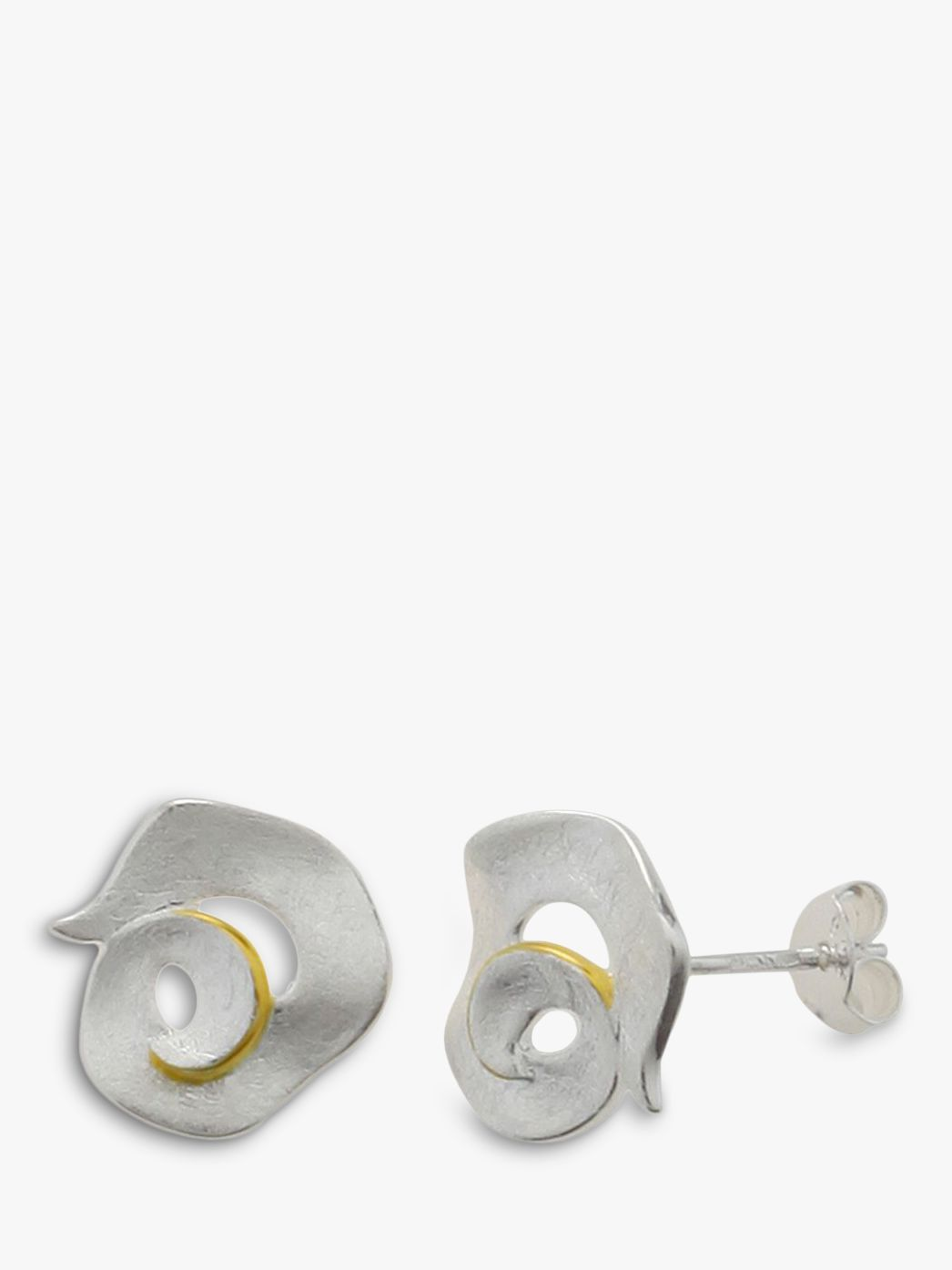 Nina B Nina B Sterling Silver Gold Edged Swirl Stud Earrings