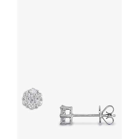 Buy EWA 18ct White Gold Diamond Cluster Stud Earrings Online at johnlewis.com
