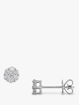 E.W Adams 18ct White Gold Diamond Cluster Stud Earrings