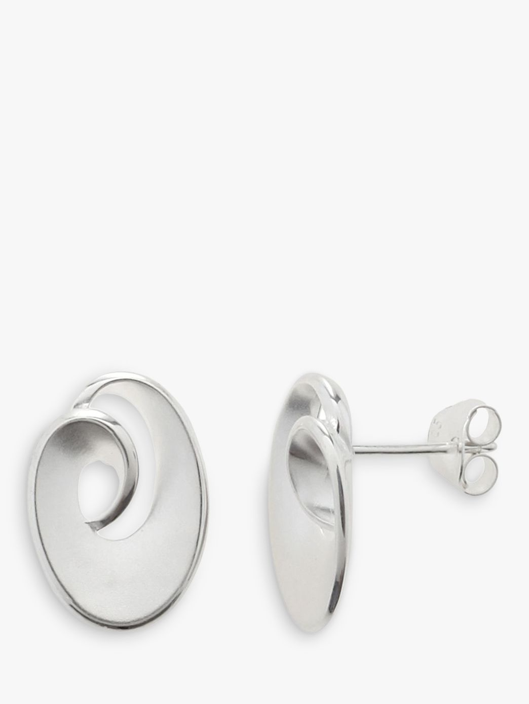 Nina B Nina B Sterling Silver Satin Finish Swirl Stud Earrings