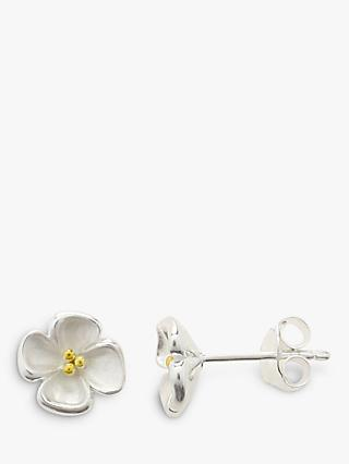 Nina B Sterling Silver Gold Plated Center Flower Stud Earrings