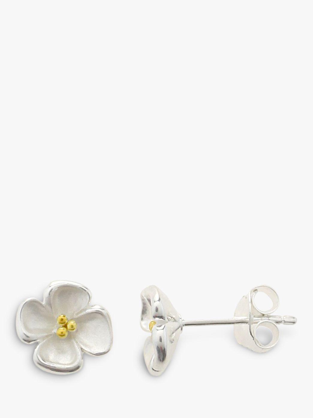 Nina B Nina B Sterling Silver Gold Plated Center Flower Stud Earrings