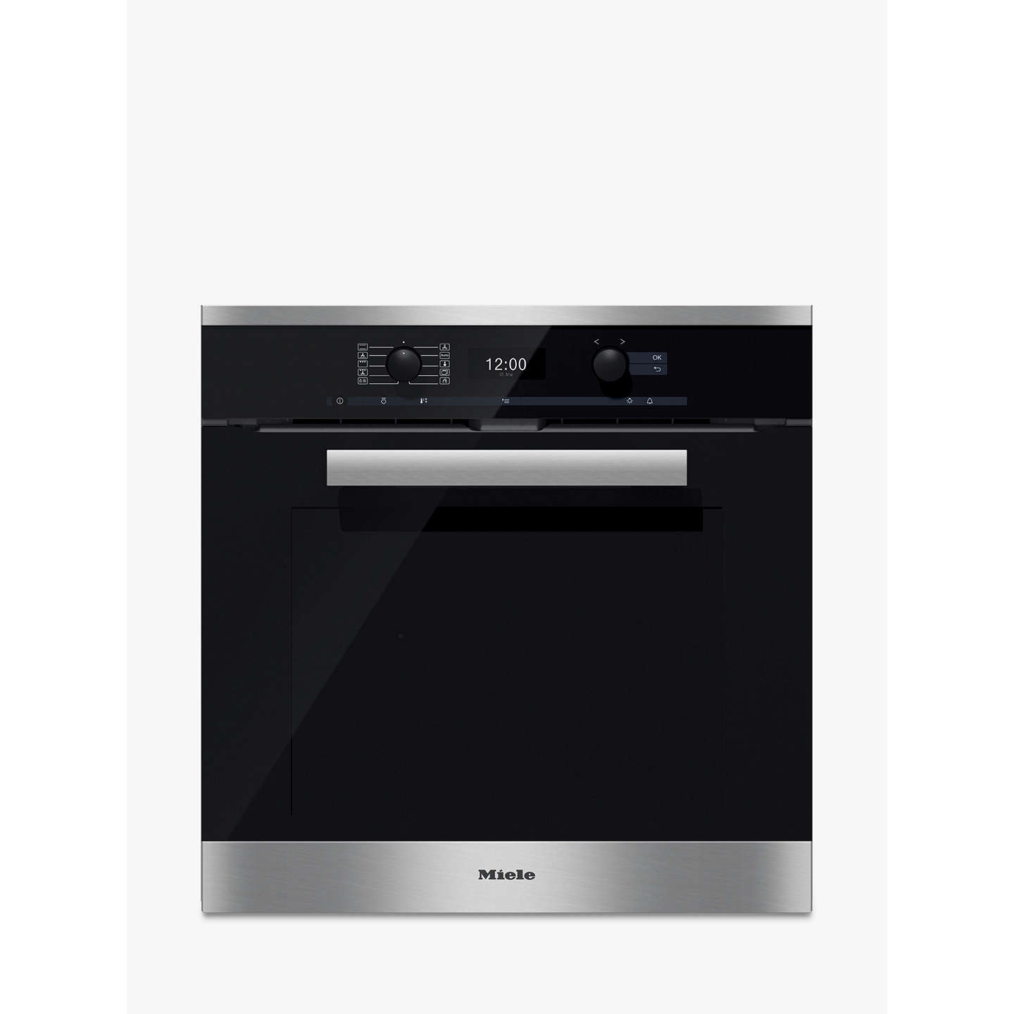 miele h6460bp pureline single electric oven clean steel at john lewis. Black Bedroom Furniture Sets. Home Design Ideas