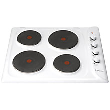 Buy Hotpoint E604W Sealed Plate Electric Hob, White Online at johnlewis.com