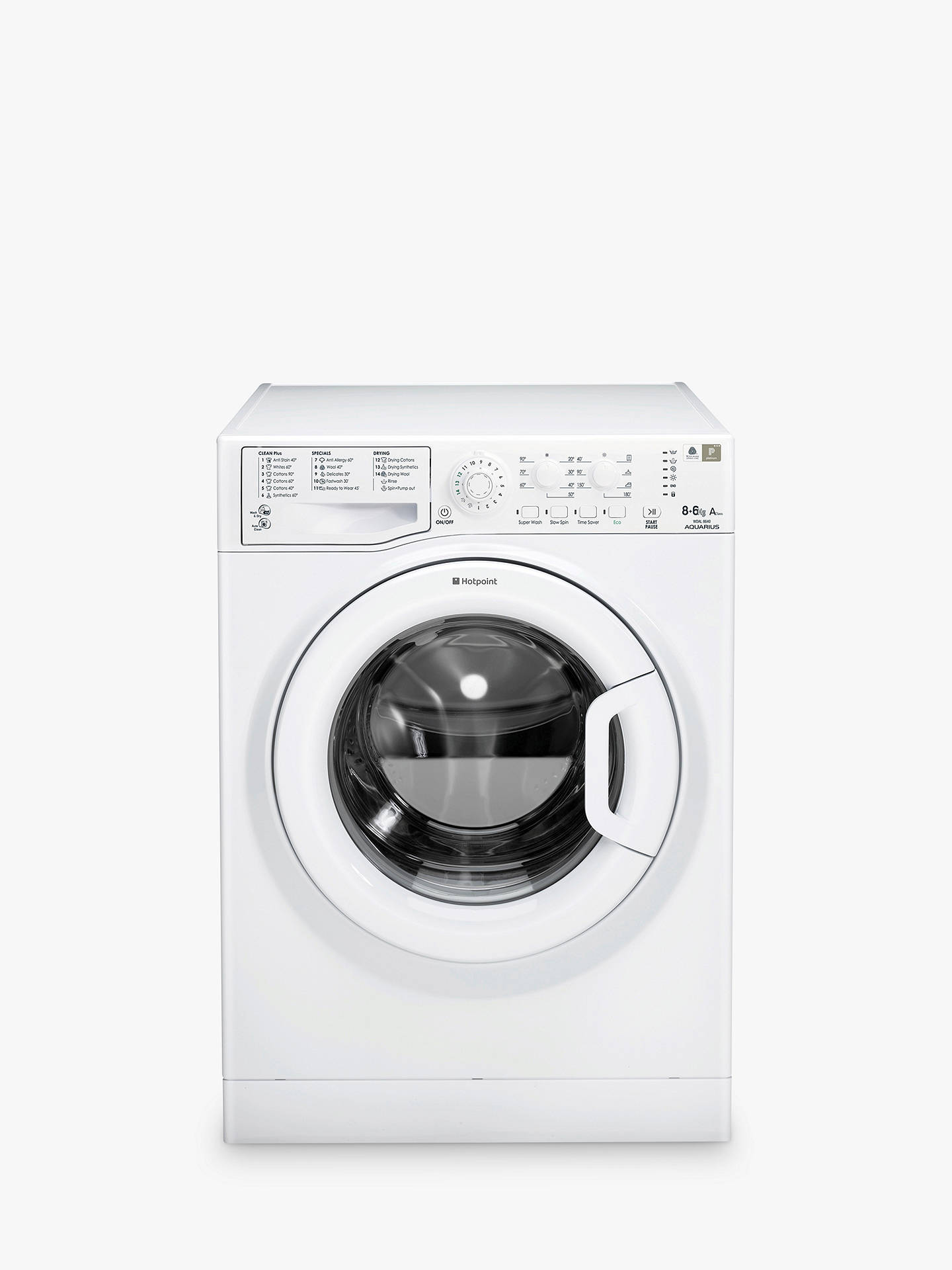 Hotpoint WDAL8640P Aquarius Washer Dryer, 8kg Wash/6kg Dry Load, A Energy Rating, 1400rpm Spin, White