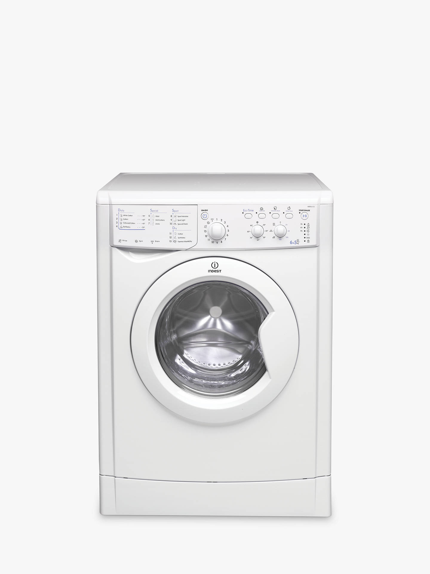 Indesit IWDC6125 Ecotime Washer Dryer, 6kg Wash/5kg Dry Load, B Energy Rating, 1200rpm Spin, White