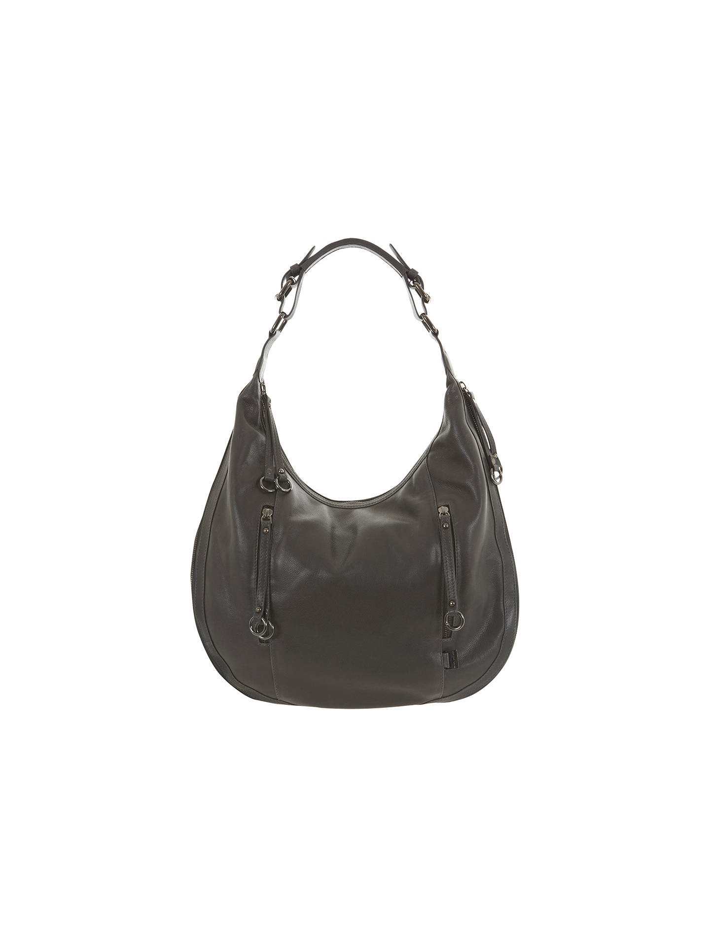 Mint Velvet Leather Suede Hobo Bag Grey Online At Johnlewis