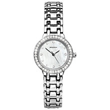 Buy Sekonda 4097.27 Women's Mother of Pearl Diamante Bezel Bracelet Strap Watch, Silver/White Online at johnlewis.com