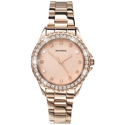 Sekonda 4253.27 Women's Temptation Crystal Bezel Bracelet Strap Watch, Rose Gold