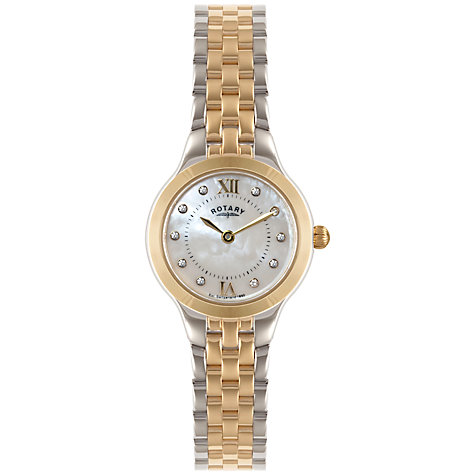 Buy Rotary LB02761/41 Women's Two-Tone Bracelet Strap Watch, Yellow Gold/Silver Online at johnlewis.com