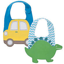 Buy John Lewis Baby Dino & Car Bib, Pack of 2, Blue/Multi Online at johnlewis.com